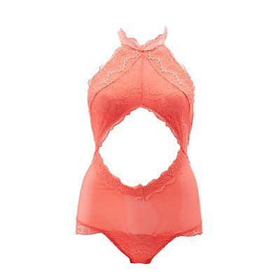 Orange Lace & Mesh Halter Bodysuit - Size S