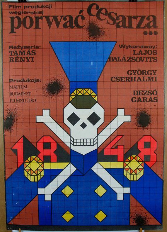 POSTER VINTAGE. Original poster for the famous Hungarian (1980) film. Polish poster by: Andrzej Krajewski (1980). Retro movie poster