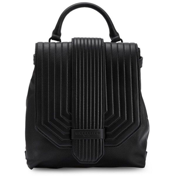 Liebeskind Berlin Women's Hino Leather Backpack ($328) ❤ liked on Polyvore featuring bags, backpacks, black, liebeskind backpack, leather zipper backpack, stitch backpack, liebeskind bags and zip backpack