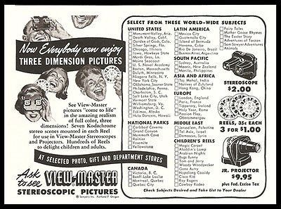 View Master Stereoscope 1952 Ad With Reel Checklist