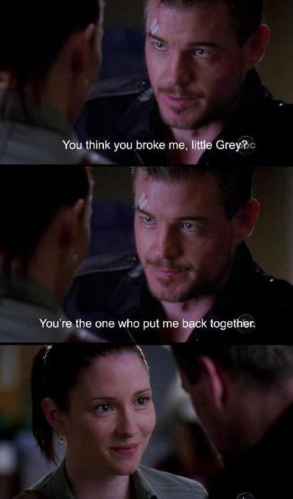 """You think you broke me, little Grey? You're the one who put me back togther."" Mark and Lexie on Grey's Anatomy, Grey's Anatomy quotes"
