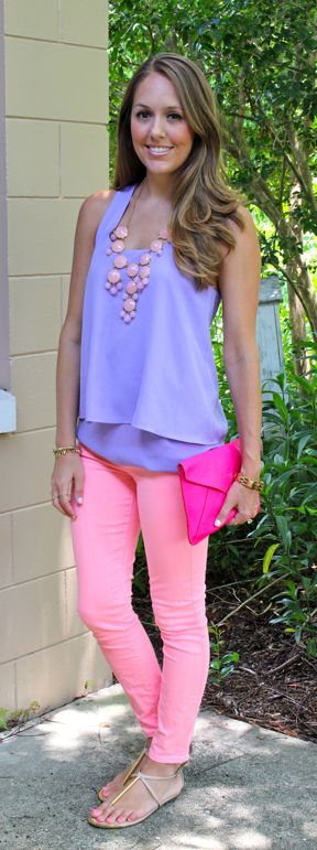 Love this outfit especially the tank and necklace.