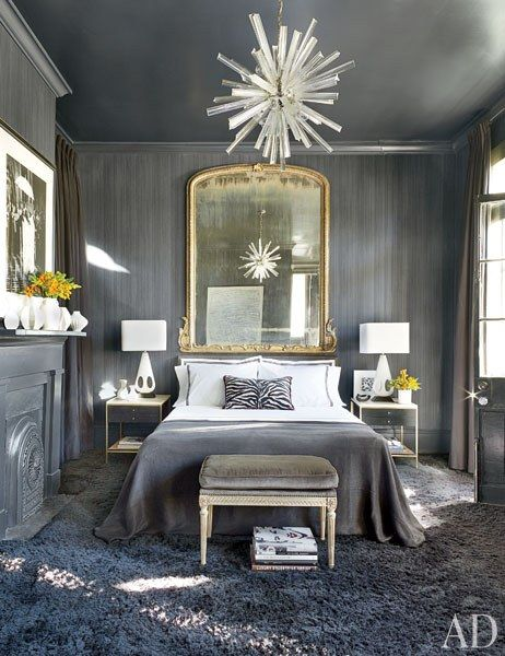We can't get enough of the matching dark gray #crownmoulding in this chic 19th century New Orleans #bedroom. #trimwork #inspiration #interior #homedecor #interiorfinishings #moulding #trim