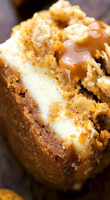 Pumpkin Caramel Cheesecake Bars with Streusel Topping ~ Delicious pumpkin cheesecake bars — two layers of cheesecake on a delicious cinnamon graham cracker crust all topped with an easy streusel and caramel sauce.