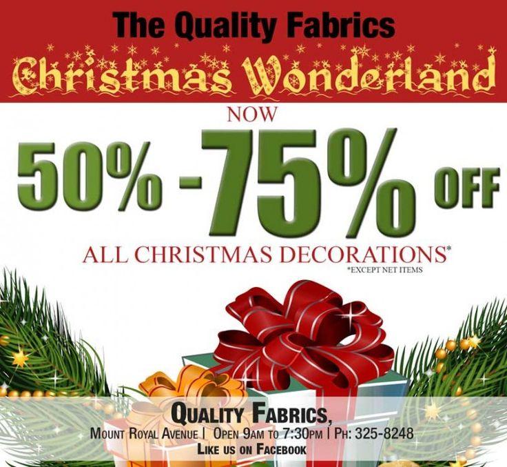 Its a Christmas Wonderland at Quality Fabrics!! Get 50 ...