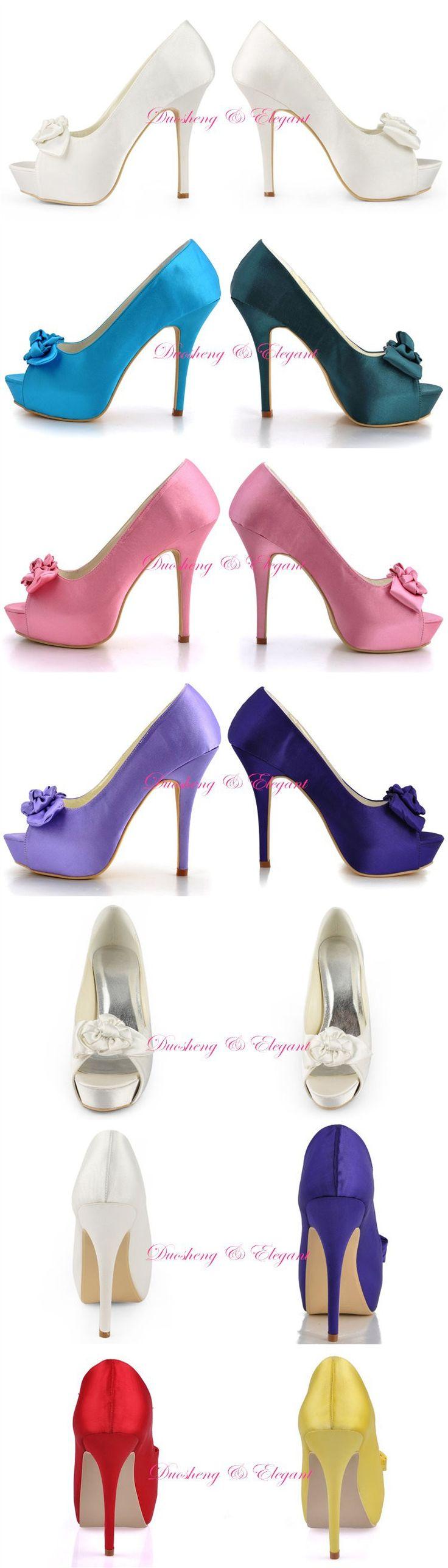 Aliexpress.com: Compre Mais cores EP11091 IP marfim Prom partido sandálias de salto alto 5 '' plataformas bombas Peep Toe de cetim sapatos de casamento de confiança sandálias sapatos de grife fornecedores em Duosheng & Elegant