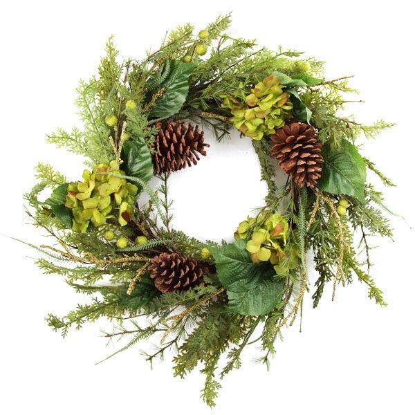 Large Fresh Hydrangea Christmas Wreath