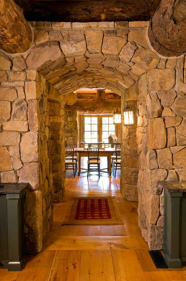 Wow!  That is a hallway! Love the massive, substantial lookRustic Houses, Beautiful Rustic, Rustic Logs, Stones Wall, Logs House Interiors, Log Cabins, Cabin Home, Wood Beams, Logs Cabin