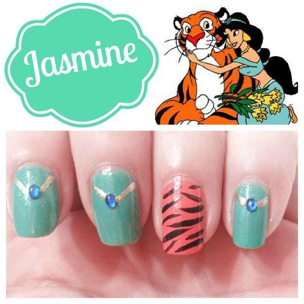 Disney Princess Inspired Makeup and Nail Designs - Inspired By Dis  -- clearly I need Princess Jasmine nails!!