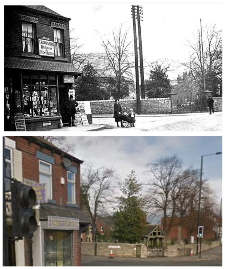 Top of Greenfield Lane, Balby with the entrance to St John's church.