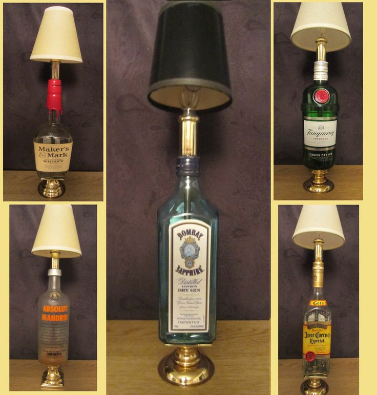 Liquor Bottle Lamps   Liquor Bottle Brass Stand Lamp Handmade Art Choice  Tequila Gin Vodka .