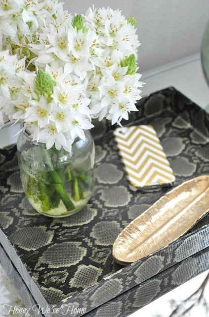 DIY Snakeskin Duct Tape Shoebox Lid into Tray // Honey We're Home