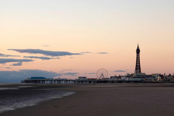 Blackpool Pier at dusk.