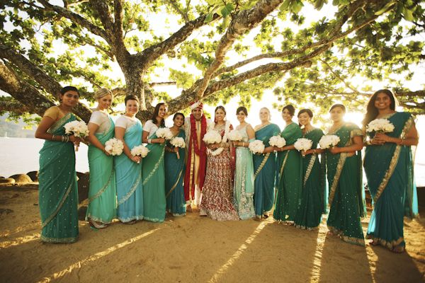 beautiful bridal party at an Indian-American wedding in Hawaii, photos by Anna Kim Photography | via junebugweddings.com
