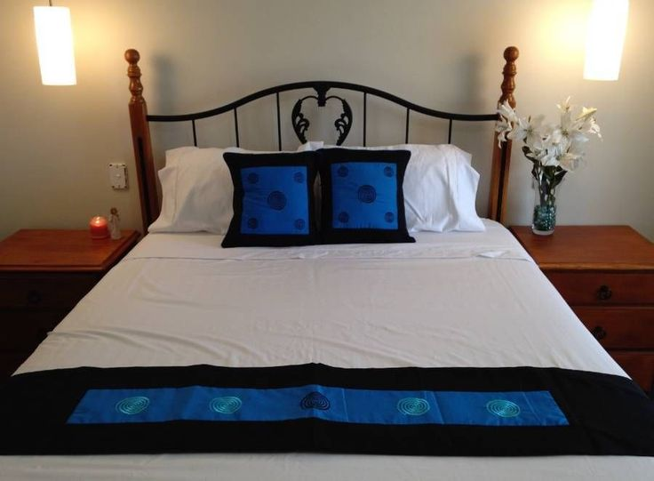 Cushion Covers x2 Bed Runner - Black and Blue swirl pattern $38.90