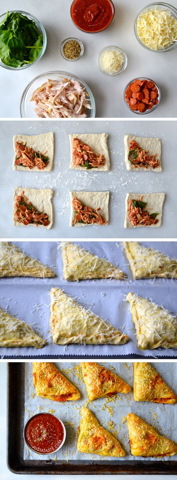 Cheesy Chicken Pizza Pockets #recipe on justataste.com