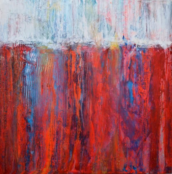 Vivid Red Landscape Is Contemporary Abstract Art On Canvas Themed Large That Bright And Colourful Ready To Hang
