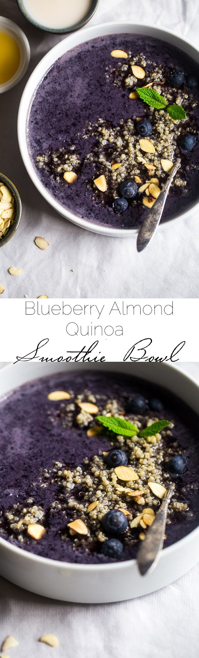 Blueberry Almond Breakfast Quinoa Smoothie Bowl – Quinoa made with vanilla almond milk and mixed with a blueberry smoothie for a quick and easy breakfast that is healthy, dairy/gluten free and loaded with superfoods!   Foodfaithfitness.com   @FoodFaithFit #ad