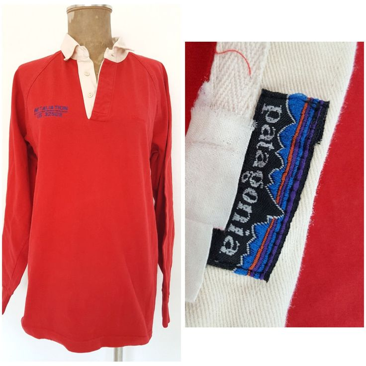 Vintage 80s Patagonia Polo Shirt Size Large Red Rugby Cotton Long Sleeve #Patagonia #PoloRugby