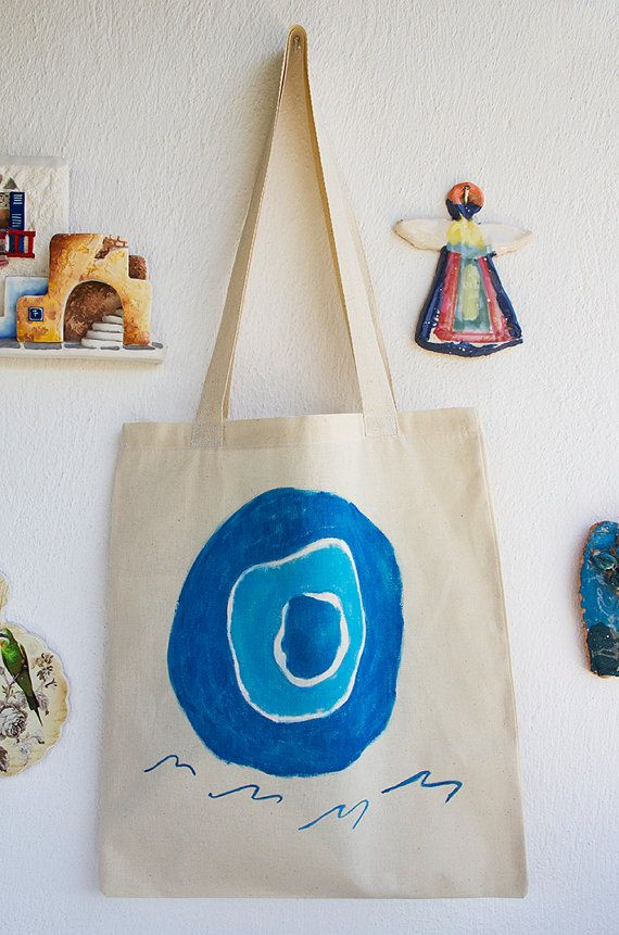 HAND PAINTED Cotton Tote Bag / Shopping bag / Cotton Bag hand painted on bag,our design. its unique for you.  one side painted  painted Evil Eye