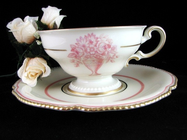 DECO Rosenthal 'Sheraton Ivory & Pink Teacup & Saucer | eBay