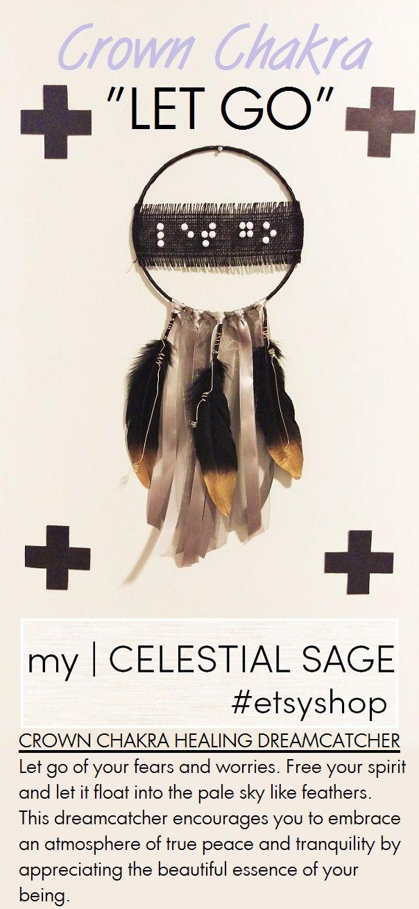 This chakra healing dreamcatcher mantra spells:   LET GO   visit etsy.com/shop/mycelestialsage to purchase...dreamcatcher, boho, decor, gypsy, bohemianchic, chakras, gift, nursery decor, ribbons, feathers, crafts, mantras, Chakra, Chakra Balancing, Root, Sacral, Solar Plexus, Heart, Throat, Third Eye, Crown, Chakra meaning, quotes, self love, wall art, handmade, moon child, heartbreak, baby shower, gypsy soul, good vibes, Chakra affirmation, Chakra Mantra, affirmations, Energy, Chakra