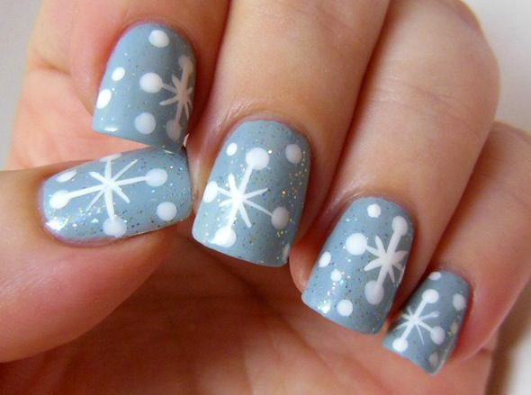 xmas diy mani snowflakes nail art