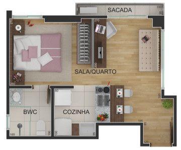 Planta Humanizada – Porto Camargo Inc. - Apartamento Estúdio.