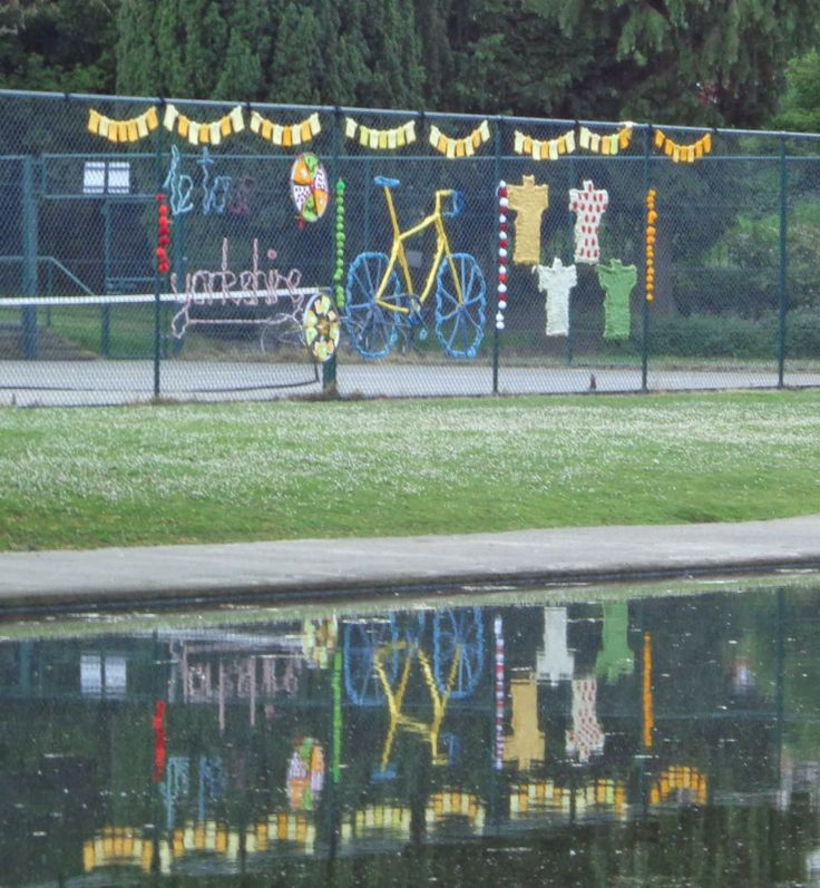 Knit a Bike Yarnstormed Installation for Le Tour Yorkshire - Rowntree Park, York