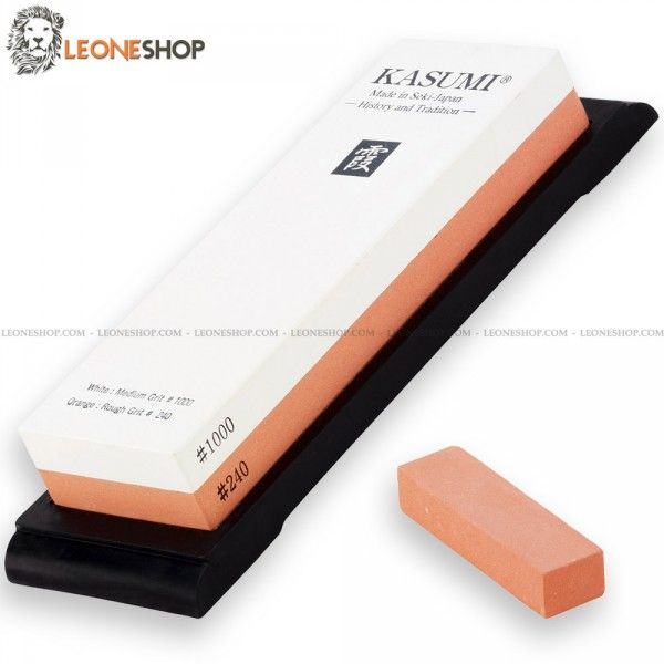 """KASUMI Professional Sharpening Stone K-80001, japanese sharpening stones with double grain, on one side 240 and the other 1000 - These two different types of granularity allow you always to be able to sharpen at best your kitchen knife, the 240 need to start the work being very abrasive, and with that of 1000, which is extremely fine you are going to finish the sharpening of your blade - Dimensions 7.1"""" x 2.4"""" x 1.2"""" - KASUMI Professional Japanese sharpening stone..."""