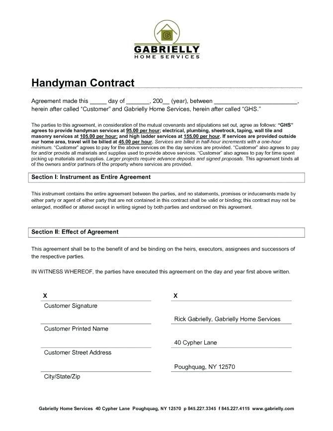 Handyman Contract Pdf Google Search Contract Template Web