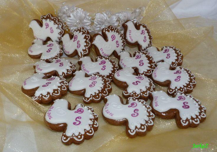 Wedding gingerbread - doves - svadobné medovníčky - holubičky