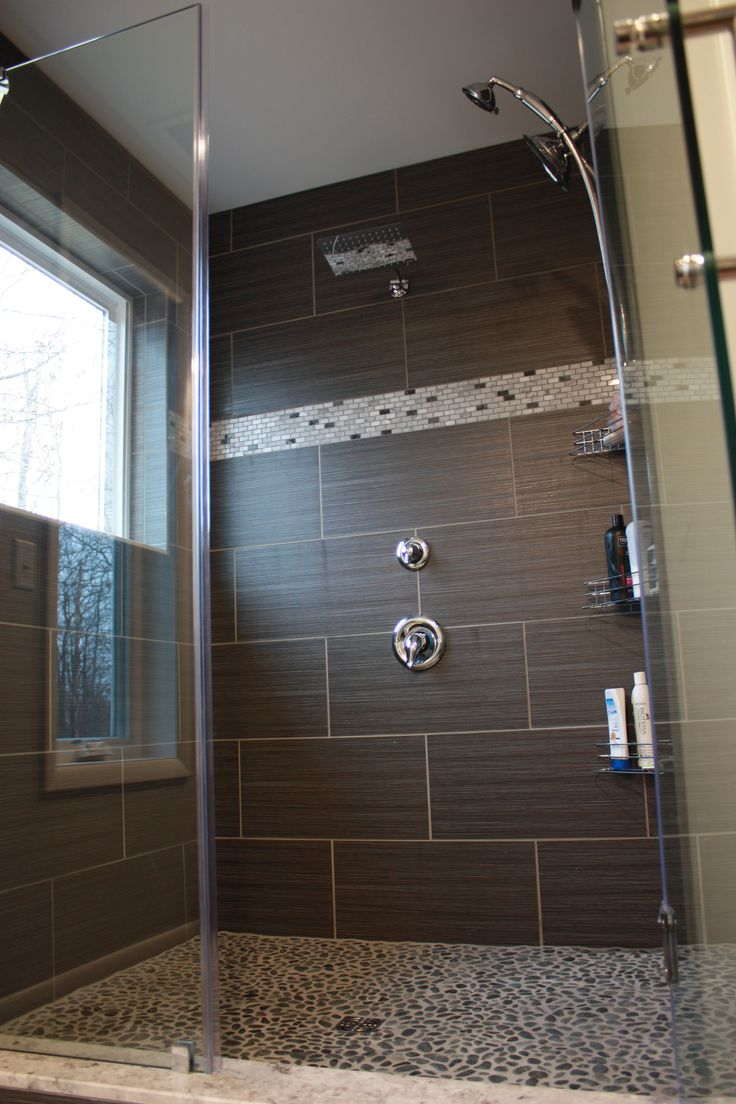 Best 25 pebble tile shower ideas on pinterest master bathroom charcoal black pebble tile dailygadgetfo Choice Image