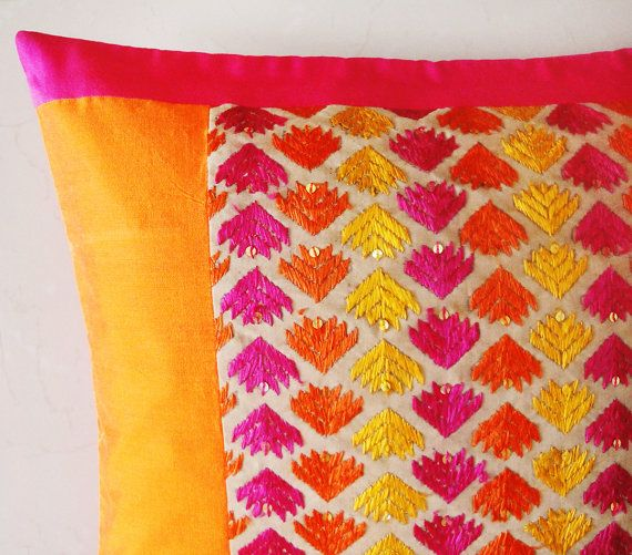 Set of 2 Bright Pink and Orange Hand Embroidered by anekdesigns, $46.00