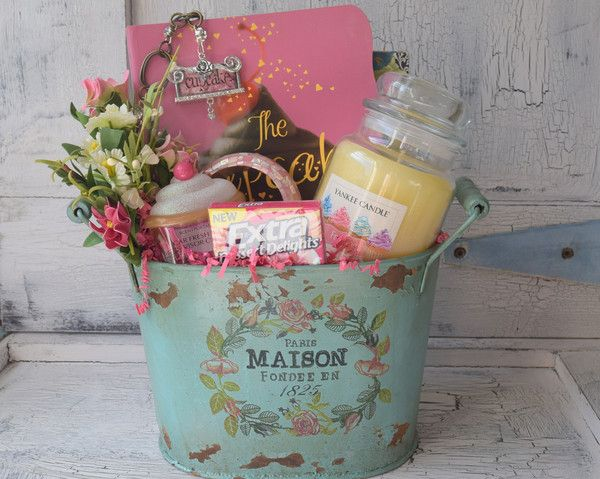Cupcake Gift Basket - Decorative Paris Maison Tin Bucket – Would look beautiful with Pink colored towels or could be used for magazines, trash can, floral arrangement etc. - Cupcake Ideas Cookbook - C