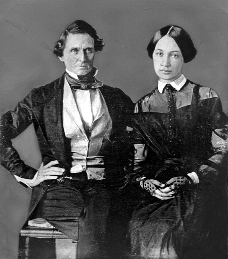 Wedding portrait of Jefferson Davis, age 37, with his bride, Varina Howell, age 17, in 1845.