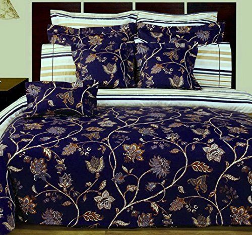 12pc French Country Blue Floral Cotton Duvet Comforter Cover Sheet Set - Country style dark Blue floral bedding set reversible to a striped pattern, sure to please his and hers  #country bedding #country duvet cover #floral bedding