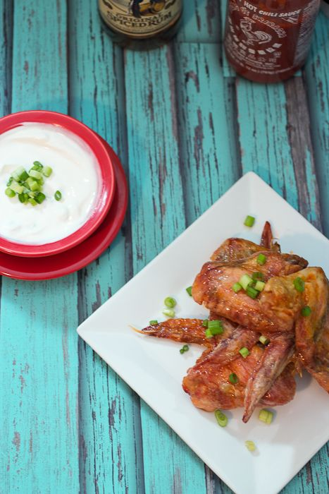 Honey Rum Sriracha Wings #CaptainsTable from The Girl In The Little Red Kitchen