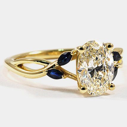 18K Yellow Gold Willow Ring with Sapphire Accents // Set with a 1.52 Carat, Oval…