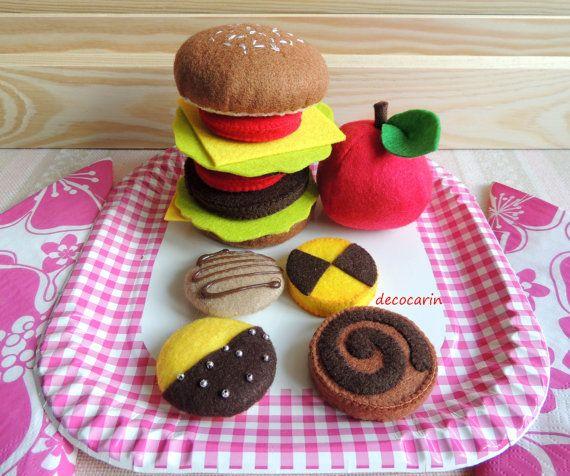 Felt Food Big Felt Hamburger Felt Cheeseburger Felt by decocarin