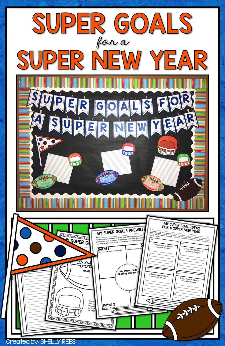 Goal setting writing is fun for 3rd grade, 4th grade, 5th grade, and 6th grade students with Super Goals for a Super New Year! Includes New Year printables, football bulletin board, and football writing activity, and would be ideal for bringing the Super Bowl into the classroom! Print and go…it's that easy!