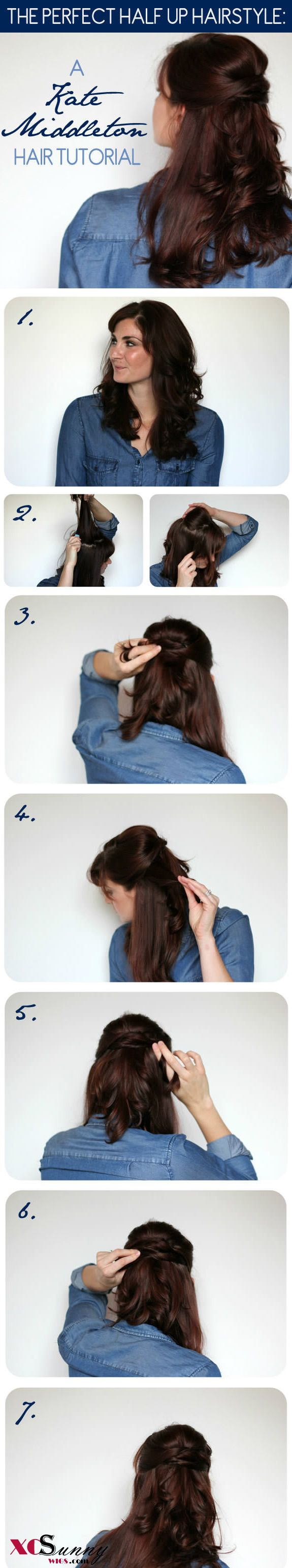 A Kate Middleton Hair Tutorial: Her Famous Half Up Hairstyle   XCSUNNYHAIR