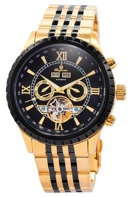 Burgmeister BM327-227 - Reloj de pulsera hombre, revestimiento de acero inoxidable, color dorado