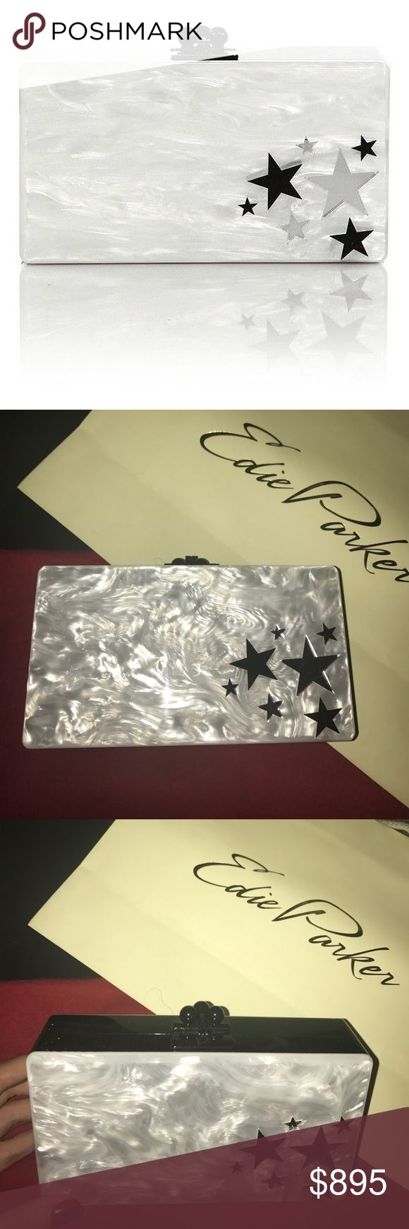 "Edie Parker Jean Cluster Star Acrylic Clutch Hinged opening; kiss-lock closure. Interior vanity mirror with engraved logo. Fits a smartphone, including an iPhone® 7 Plus. 3.5""H x 6.8""W x 1.8""D; weighs approx. 0.75 lbs. ""Jean"" is made in USA. Edie Parker Bags Clutches & Wristlets"