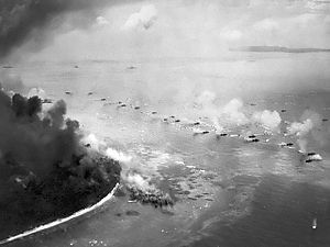 15 September 1944: The first wave of LVTs approach the beaches during the American assault on Peleliu.