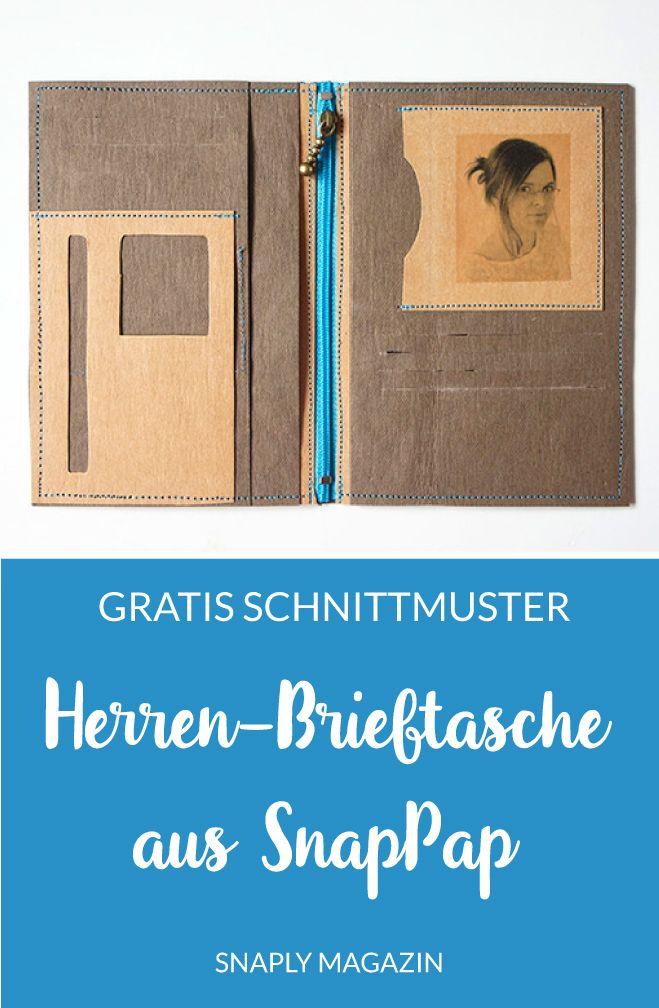 Gratis Nähanleitung & Schnittmuster: Herren-Brieftasche aus SnapPap ...