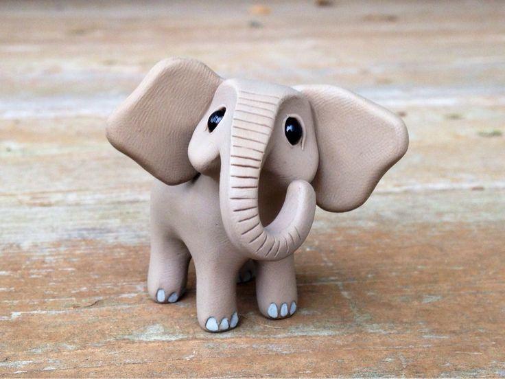 Elephant: Handmade miniature polymer clay animal figure (30.00 USD) by AnimalitoClay