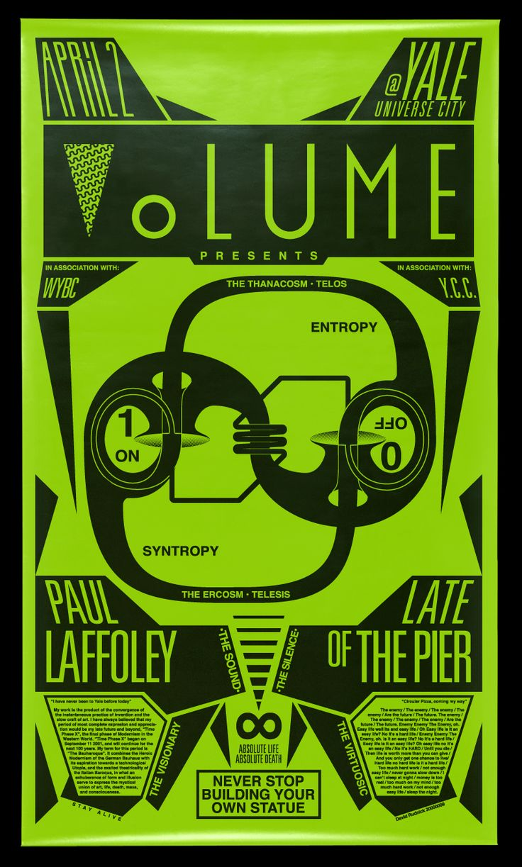 Volume Magazine presents:Paul Laffoley & Late Of The Pier April 2, 2009 NEVER STOP BUILDING YOUR OWN STATUE