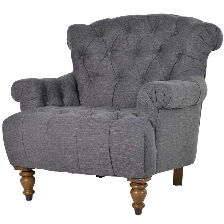 Buttoned Charcoal Deep Chair by The French Bedroom Company