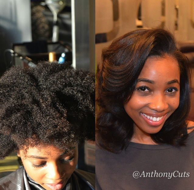 Before and After of a Silk Press Transformation on Natural Hair